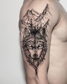 ⛰🐺 Work by Wolf Face Tattoo, Wolf Tattoos Men, Wolf Tattoo Sleeve, Celtic Tattoos, Sleeve Tattoos, Tribal Wolf Tattoos, Cute Tattoos, Body Art Tattoos, Small Tattoos
