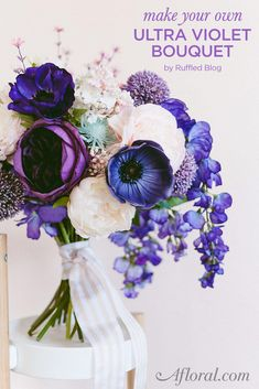 In honor of Pantone's color of the year, make your own Ultra Violet Bouquet using silk flowers from Afloral.com.