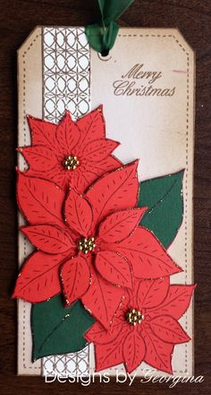 Tag using Designs by Georgina, Poinsettia Tag stamp.