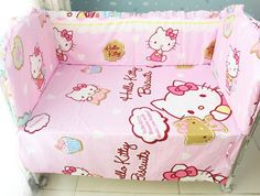 41.20$  Buy now - http://aligao.worldwells.pw/go.php?t=32334258755 - Promotion! 6PCS Hello Kitty Boy Baby Cot Crib Bedding Sets Baby Nursery bed kit Embroidered (bumpers+sheet+pillow cover) 41.20$