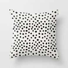 Throw Pillow featuring Preppy Brushstroke Free Polka Dots Black… by CharlotteWinter