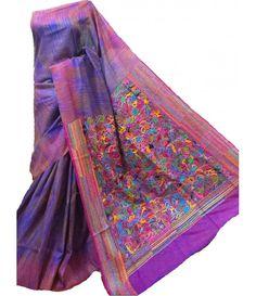 Purple Kantha Silk Stitch Saree