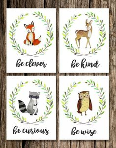 Woodland Nursery Decor | Fox Deer Raccoon Owl Bear | Woodland Animals | Woodland Creatures | Be Brave Be Kind Be Curious Be Clever Be Wise | Set of 5 | Watercolor Art *NEW*! BE BRAVE BEAR! Be Clever ❧ Be Kind ❧ Be Curious ❧ Be Wise ❧ Be Brave This Set of 5 Woodland Animal watercolor prints features an adorable owl, deer, fox and raccoon! Would look beautiful in a white or rustic frames and hung in a babys nursery or playroom! Ideal for a baby shower, baby dedication or christening, birthd...