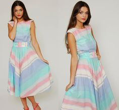 Vintage 70s Pastel Chevron Stripe Dress by LotusvintageNY