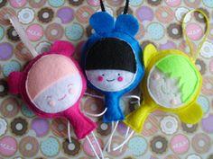 Three Kawaii Ornie Plush Dolls Pink Blue Yellow Cloth by MyWillies, $15.00