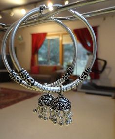 sterling silver hoop jhumkas