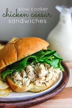 The Recipe Critic: Slow Cooker Chicken Caesar Sandwiches. Nothing too special or amazing, but easy and tasty. We tried sandwiches with ciabatta bread and wraps, and both were good. Slow Cooker Huhn, Crock Pot Slow Cooker, Crock Pot Cooking, Slow Cooker Chicken, Slow Cooker Recipes, Cooking Recipes, Healthy Recipes, Fast Recipes, Crockpot Meals