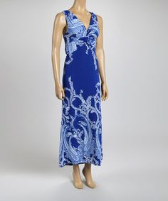 Loving this Royal Blue Paisley Knot-Front Dress - Women on #zulily! #zulilyfinds