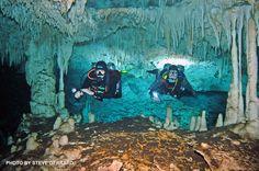 Bob Thorpe and Ken Bosko on Traverse City, Michigan enjoying a cave dive at Cenote Dos Pisos, Q. Roo, Mexico.