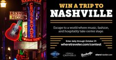 Win a trip to Nashville, including airfare stipend for two and 3 night/4 day stay at the 5-star Hermitage Hotel. Discover all that Music City has to offer - just in time for the holidays, you'll get the VIP treatment at Tennessee's most luxurious mall and an indulgent weekend of dining, shopping and exploring in one of the South's most charming towns.