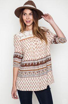 6b4abb751d5eb Sweet Paisley Crochet Tunic - Umgee – Thistle   Finn Crochet Tunic