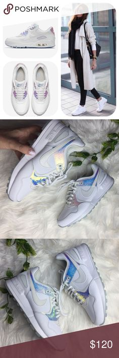 NWT air Pegasus holographic MAXIMUM CUSHIONING, FLEXIBLE FEEL. The Nike Air Pegasus 89 premium white leather with holographic design no trades please no box  Nike Shoes Sneakers