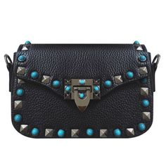 Fashion Women's Crossbody Bag With Rivet and Hasp Design   Black