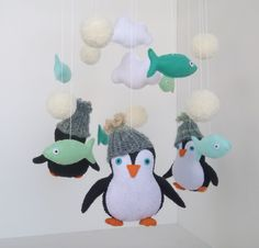Penguin Baby, Baby Penguins, Baby Crib Mobile, Baby Cribs, Sell On Etsy, My Etsy Shop, Craft Party, Diy For Kids, Arctic