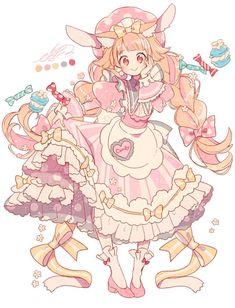 So fluffly kawaii pink girl!♡ she is like a soft marshmellow of love Anime Chibi, Kawaii Anime, Kawaii Art, Cartoon Kunst, Cartoon Art, Kawaii Drawings, Cute Drawings, Anime Art Girl, Manga Art
