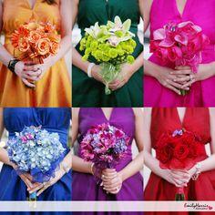 I want emerald sapphire dark pink plum  & a yellow gold bridesmaids dresses for my jewel tone wedding
