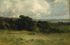"""""""Pleasant Pastures,"""" Edward Mitchell Bannister, 1887, oil on canvas, 16 1/8 x 24"""", Smithsonian American Art Museum."""