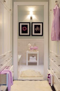 integrated closet/hallway + focal point in bathroom