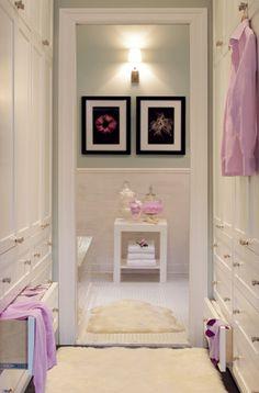integrated closet/hallway + focal point in bathroom
