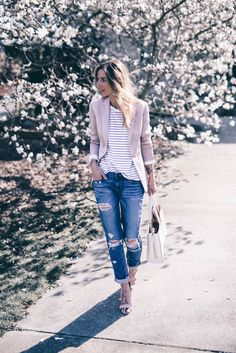 Blush Reiss Blazer Ripped Boyfriend Jeans Prosecco and Plaid