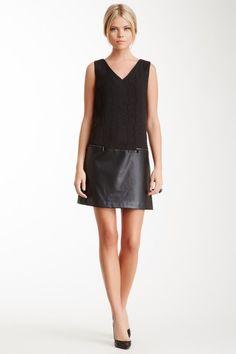 Sleeveless Faux Leather Panel Dress on HauteLook