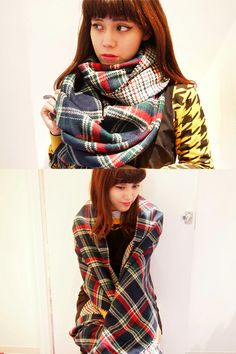 Patterns on Patterns by Dolly & Molly, 2sided Checked Muffer, Houndstooth Sweatshirt, Pleated Dress | Fall & Winter | Dolly & Molly | www.dollymolly.com | #japanfashion #streetfashon #chic #cute #cool #red #blue #striped #lookbook #japan #staff #muffer #scarf #yellow #black #dollymolly #outfit #ootd