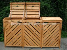 Esterno in legno pattumiera/casella spazzatura/bidone della spazzatura