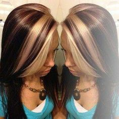 [ Trendy Hair Color - Highlights : ♥bold blonde chunks perfect For a client who wants change but wants to keep the length Love Hair, Great Hair, Gorgeous Hair, Beautiful, Blonde Chunks, Hair Color Highlights, Chunky Highlights, Blonde Peekaboo Highlights, Blonde Streaks