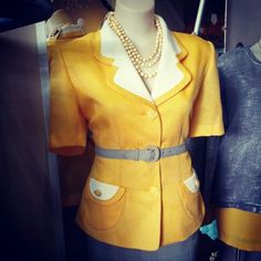 #vintage #canary #yellow  #suit #blouse $39