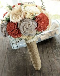 Handmade Alternative Wedding Bouquet - Red Gray Ivory Bridal Bridesmaid Bouquet, Natural Bouquet, Rustic Bouquet, Keepsake Bouquet