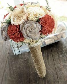 Handmade Alternative Wedding Bouquet - Red Gray Ivory Bridal Bridesmaid Bouquet, Natural Bouquet, Rustic Bouquet, Keepsake Bouquet