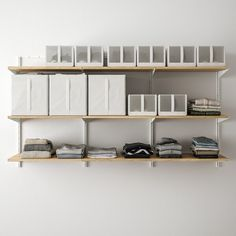 BOAXEL 3 sections, white, oak. BOAXEL wall-mounted storage system is easy to mount and takes care of all your clothes and shoes in the bedroom and in smaller walk-in wardrobes. Small Walk In Wardrobe, Consoles, Printer Stand, Ikea Family, Furniture Inspiration, White Oak, Closet Organization, Wall Shelves, Storage Solutions