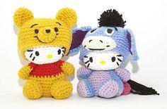 Crochet Hello Kitty Pooh and Eeyore