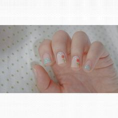 Flower nails with a matte top coat.