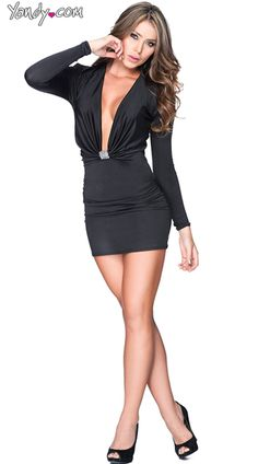 Black Long Sleeve Mini Dress with Keyhole Bust  Hot Womens ...