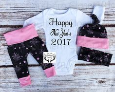 Girls Coming Home Outfit,Happy New Year's 2017,Fireworks,Baby New Year's Outfit, 2017 Outfits,Black,Pink and White,Baby Girl,Girls New Years