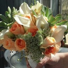 Succulent and Roses Wedding Bouquet