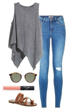 """""""draped top"""" by helenhudson1 ❤ liked on Polyvore featuring Steve Madden, Yves Saint Laurent and NARS Cosmetics"""