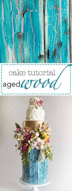Learn to make this incredibly realistic aged, painted wood finish for cakes! It's easier than it looks and my simple tips and tricks will transform your next woodland style wedding cake design! Get the tutorial now! #weddingcake #woodcake #cakedecorating #karascouturecakes