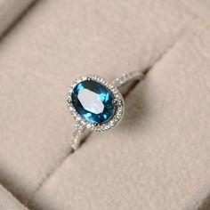 London blue topaz ring oval gemstone sterling silver by LuoJewelry London Blue Topaz, Blue Topaz Ring, White Gold Diamonds, Or Rose, Silver Rings, Silver Jewelry, Opal Rings, Diamond Jewelry, Jewlery