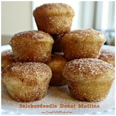 "Snickerdoodle Donut Muffin Recipe ""Mini muffins that taste just like cinnamon sugar doughnut holes! The secret ingredient is nutmeg. Donut Muffins, Mini Muffins, Breakfast Muffins, Breakfast Potatoes, Mini Donuts, Breakfast Dishes, Breakfast Ideas, Breakfast Recipes, Morning Glory Muffins"