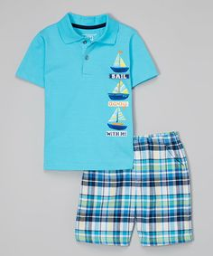 This Blue Boat Polo & Plaid Shorts - Infant, Toddler & Boys by Kids Headquarters is perfect! #zulilyfinds