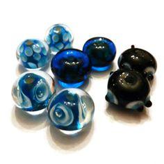 Destash Beads Blue Lampwork Beads by JewelryDesignsByRita on Etsy, $4.00