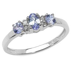 ($39.99 - $59.99) 0.60 Carat Genuine Tanzanite & Diamond Silver Ring   From JewelzDirect
