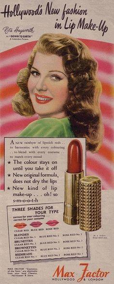 Max Factor ad with Rita Hayworth (1947)
