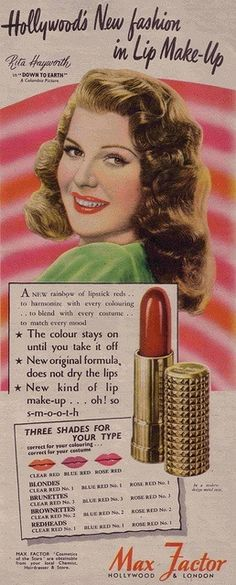 Rita Hayworth. Max Factor lipstick advertisement