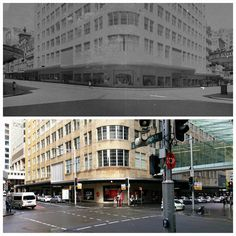 The new David Jones building on the corner of Castlereagh and Market Streets 1941 > 2016 [Sam Hood, State Library of NSW > Allan Hawley. By Allan Hawley] The 'burbs, Sydney City, Different Countries, Amazing Pics, Retail Shop, David Jones, Historical Photos, Old Photos, 1940s
