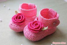Flower crochet bootie