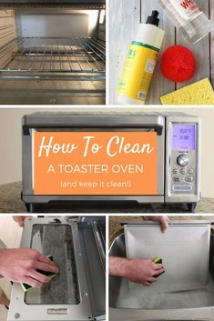 , How To Clean A Toaster Oven And Keep It Clean! , Find step-by-step photo directions for how to clean a toaster oven, what cleaning products the manufacturers recommend and our maintenance tip. Toaster Oven Pans, Toaster Oven Cooking, Convection Oven Cooking, Toaster Oven Recipes, Countertop Convection Oven, Microwave Oven, Cleaning Grease, Oven Cleaning Hacks, Bathroom Cleaning Hacks
