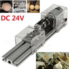 DC 24V Mini Lathe Beads Machine Polish Woodworking DIY Tools 80-100W Sale - Banggood.com